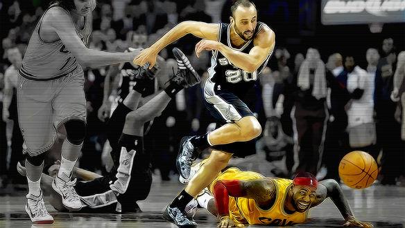 Обои Баскетболисты в борьбе за мяч