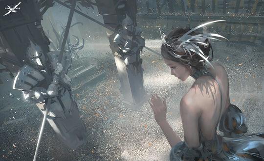 Обои Эльфийка перед входом в замок, art by wlop