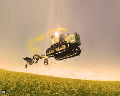 Обои Трактор-мечтатель парит над цветущим полем