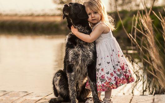 Обои Девочка обнимает собаку, стоя на деревянном мостике у реки