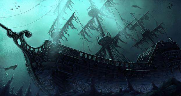Обои Затонувший парусный корабль на дне моря