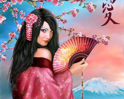 Обои Девушка с цветком в волосах и веером в руках