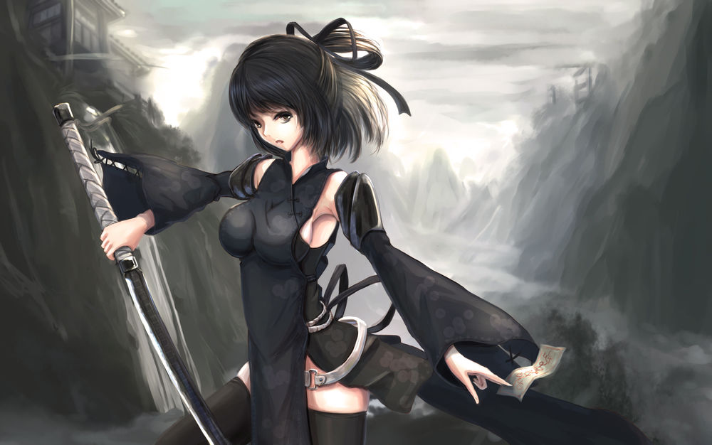 Обои Девушка в черной одежде стоит с катаной в руке, art ... Девушка с Катаной