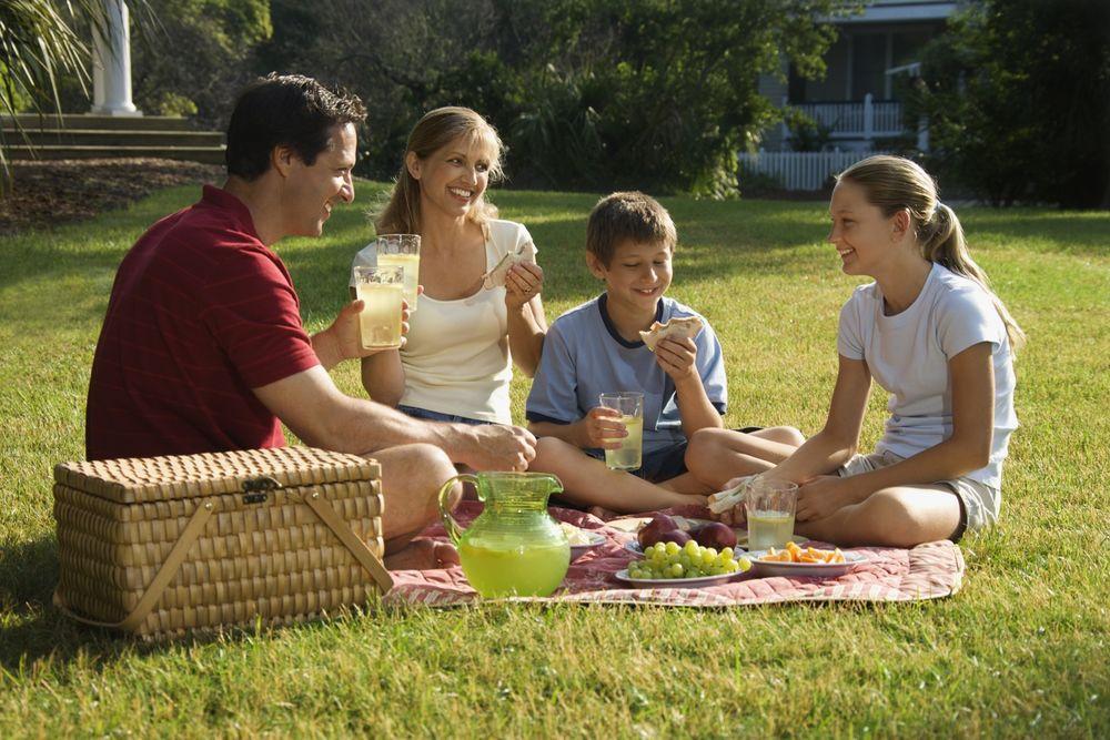 Обои для рабочего стола Мама, папа и двое детей сидят на траве