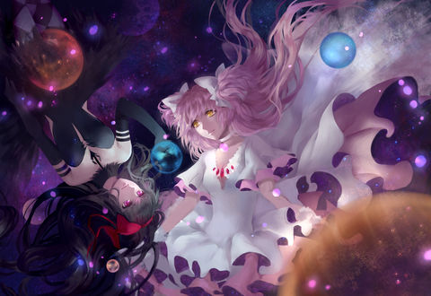 Обои Хомура Акэми / Homura Akemi и Мадока Канамэ / Madoka Kaname из аниме Девочка-волшебница Мадока Магика / Mahou Shoujo Madoka Magica