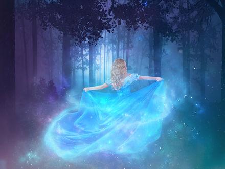 Обои Девушка в лесу в сияющем голубом платье