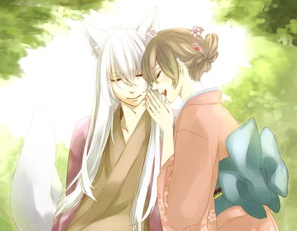Обои Демон-лис Tomoe / Томое и Nanami Momozono / Нанами Момозоно из аниме Kamisama Hajimemashita / Очень приятно, Бог, художник He-zo