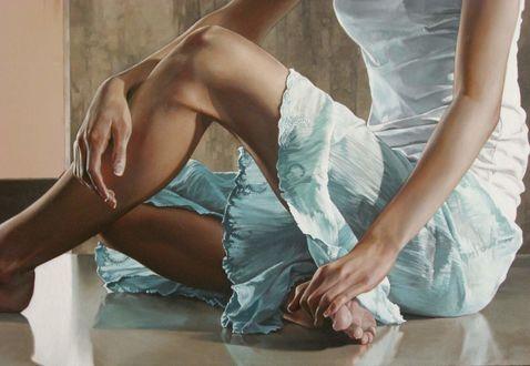 Обои Девушка сидит на полу, by Bryan Larsen