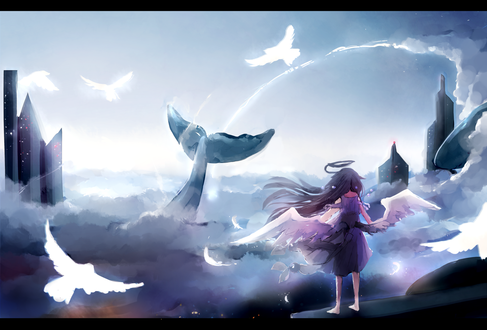 Обои Девочка - ангел стоит перед облаками, где парят голуби и плавает кит, by YuruiKarameru