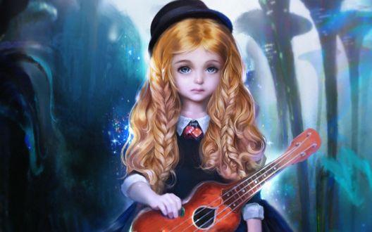 Обои Девочка в шляпке держит в руках гитару