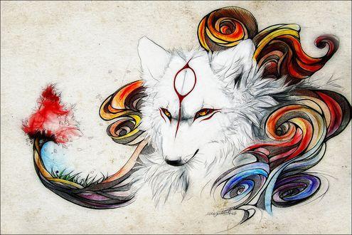Обои Белый волк с узором на лбу, на фоне абстрактных узоров