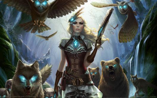 Обои Блондинка в корсете с пистолетами в лесу со свитой из волков, медведей и сов, из игры Outcast Odyssey