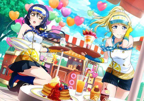 Обои Две девушки, героини игры Lovelive! School Idol Festival