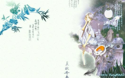 Обои Natsume Takashi / Нацумэ Такаши и Nyanko-sensei / Нянко-Сенсей из аниме Natsume Yuujinchou / Тетрадь дружбы Нацумэ, art by Yuki Midorikawa