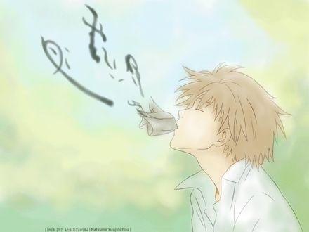 Обои Natsume Takashi / Нацумэ Такаши возвращает имя екаям, из аниме Natsume Yuujinchou / Тетрадь дружбы Нацумэ, art by Yuki Midorikawa