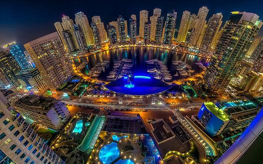 Обои Ночной Дубай / Dubai с борта самолета