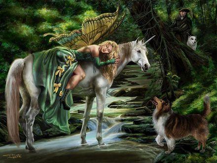 Обои Девушка-ангелочек в лесу спит на коне на фоне собаки и парень