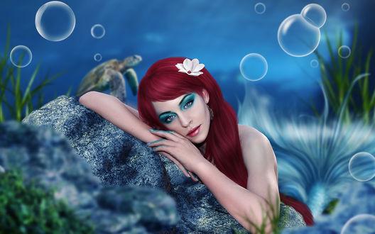 Обои Русалочка в подводном мире с цветком в волосах