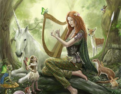Обои Девушка играет на арфе, ее слушают животные и феи