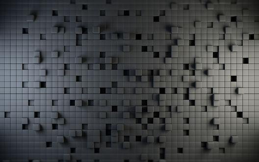 Обои Мозайка из черных квадратов