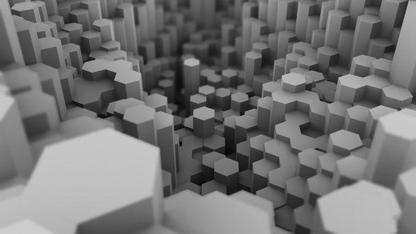 Обои Абстракция из серых многоугольников