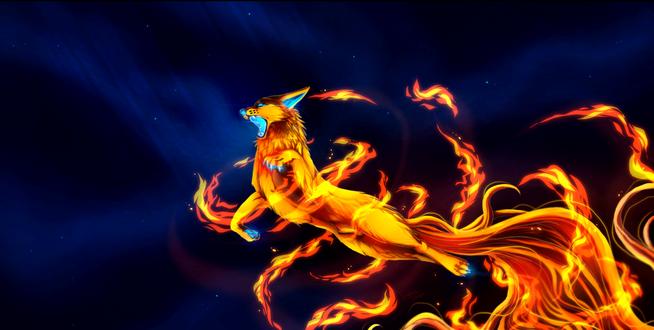 Обои Огненный волк, by Konveekou