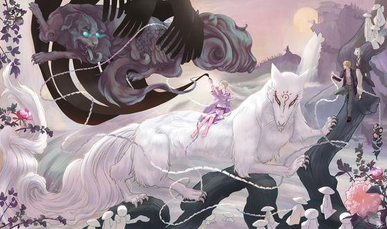 Обои Takashi Natsune / Нацумэ Такаши, Madara / Мадара и Shuuichi Natori / Шуичи Натори запечатывают черного демона, из аниме Natsune Yuujinchou / Тетрадь друзей Нацумэ