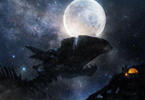 Обои Силуэты двух туристов, разбивших палатку на окаменелом скелете огромного доисторического чудовища и любующихся на водопад, стекающий с его черепа, на фоне луны и звездного неба, арт / art by Iy Tujiki