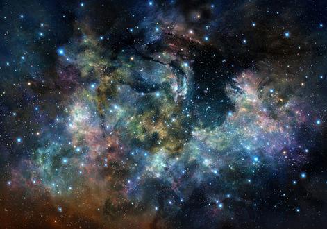 Обои Разноцветная космическая туманность, арт / art by Iy Tujiki
