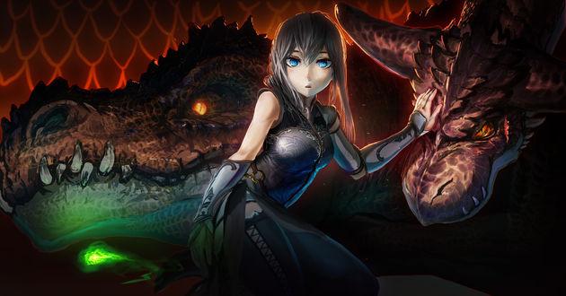 Обои Фэнтезийная девушка с пепельными волосами и голубыми глазами гладит дракона, арт / art by Akio-bako