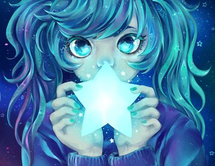 Обои Vocaloid Hatsune Miku / Вокалоид Хацунэ Мику на фоне ночного неба держит в руках сияющую звезду, арт / art by thiefofstarz