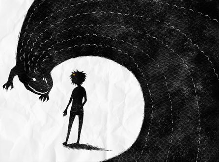 Обои Силуэты Карката Вантаса / Karkat Vantas из вэб-комикса Хоумстак / Homestuck и огромного аллигатора в виде звездного неба, нарисованные на мятой бумаге