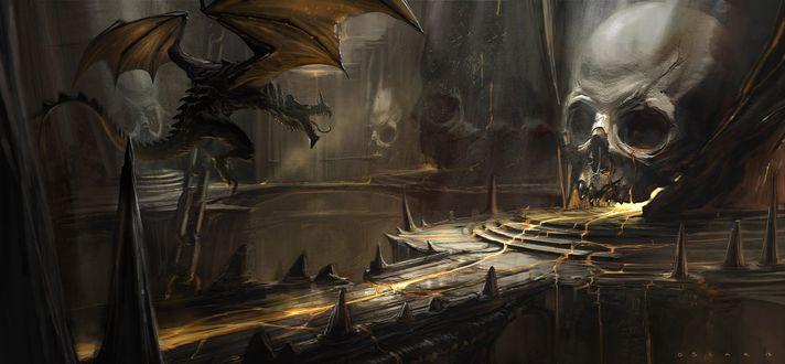 Обои Дракон летящий в мрачной пещере с огромными черепами