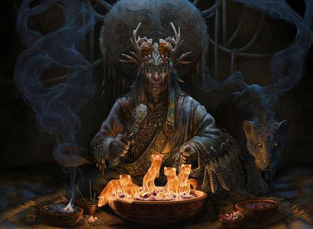 Обои Шаман сидит и практикует магию огня, вызывая духов зверей