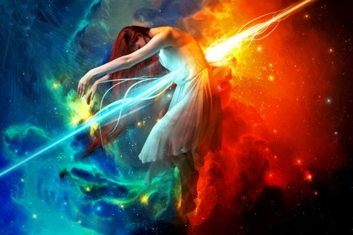 Обои Девушка на фоне космоса, пронзенная лучом молнии и огня