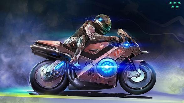 Обои Нарисованный гонщик на мотоцикле