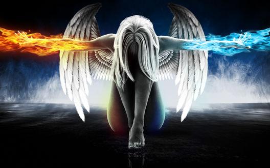 Обои Девушка-ангел с магией огня и льда