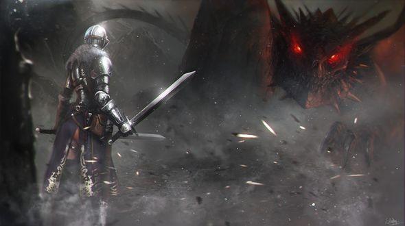 Обои Поединок отважного рыцаря в доспехах и страшного дракона, игра Dark Soul 2