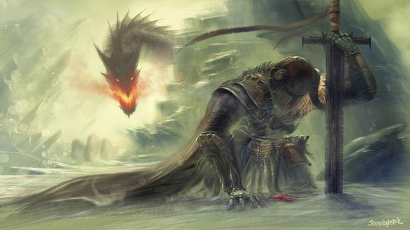 Обои Раненный рыцарь преследуемый огнедышащим драконом, игра Deathwing the Destroyer