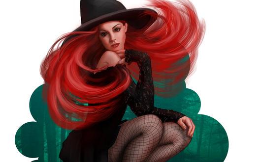 Обои Гламурная девушка с рыжими волосами в шляпе