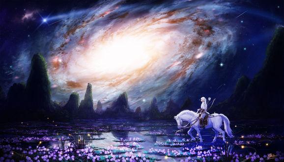 Обои Девушка-лучница верхом на белой лошади пересекает реку