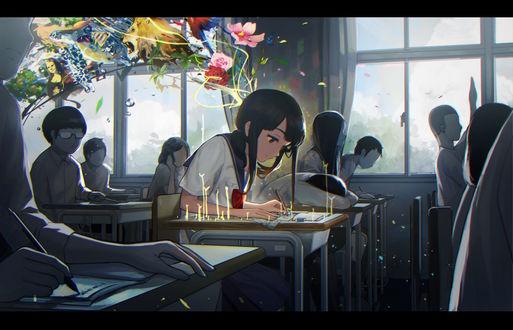 Обои Девушка рисует, сидя за партой