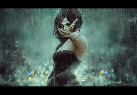 Обои Темноволосая девушка протягивает руку вперед, стоя под дождем, art by NanFe