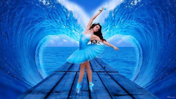 Обои Морские волны образовали красивые полуовалы сердечком вокруг деревянного пирса с танцующей на нем балериной