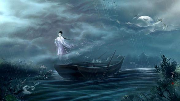 Обои Девушка призрак парит в дождь над лодкой, в небе парят журавли