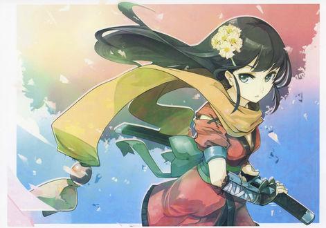 Обои Девушка-самурай в боевой стойке с катаной