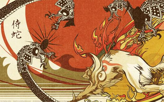 Обои Белый демон-волк Okami сражается с черным драконом