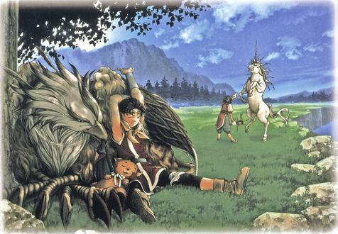 Обои Пляшущий единорог и другие персонажи из игры Suikoden 2, отдыхают на берегу горного озера