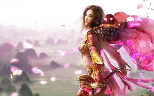 Обои Красивая девушка в доспехах воина