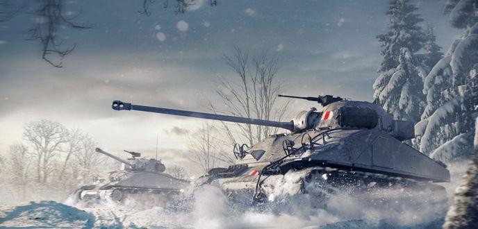 Обои World-of-tanks, игра, мир танков, зима, танк